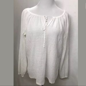 J Crew White Semi Sheer Lightweight Top